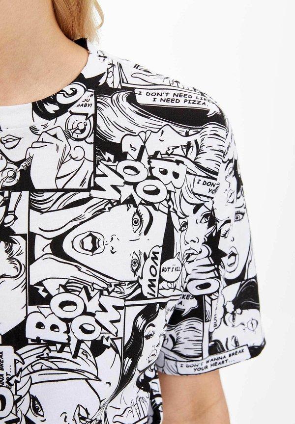 DeFacto DEFACTO WOMAN - T-shirt z nadrukiem - white Odzież Damska CWNW MC 6