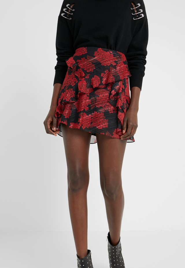 JUPE - A-line skirt - red/black