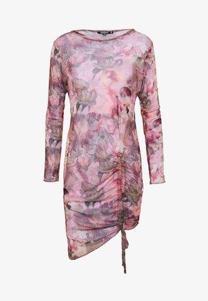 FLORAL RENAISSANCE PRINT DRAWSTRING MIDI DRESS - Shift dress - pink
