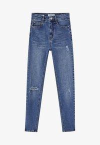 PULL&BEAR - MOM MIT HOHEM BUND - Jeans Skinny Fit - dark blue - 5