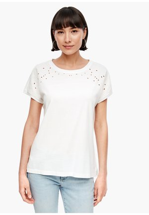 MIT LOCHSTICKEREI - Print T-shirt - cream