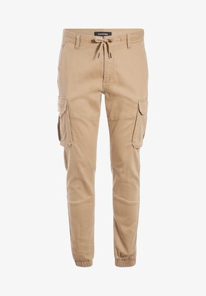 MIT TUNNELZUG IN DER TAILLE - Cargo trousers - beige