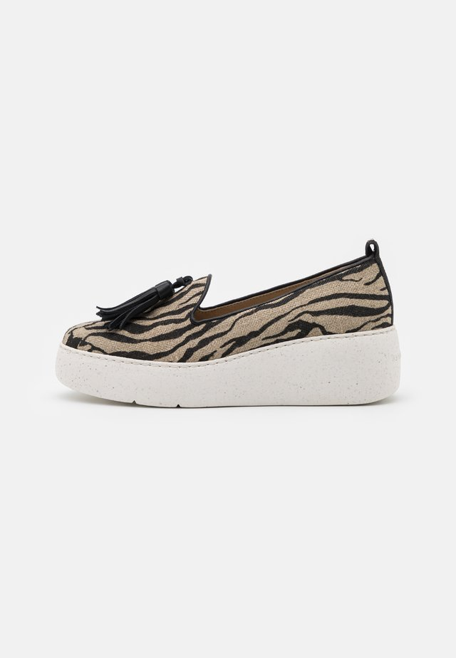 Platform heels - beige/black