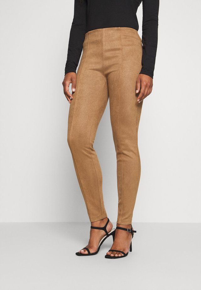 Leather trousers - camel velo