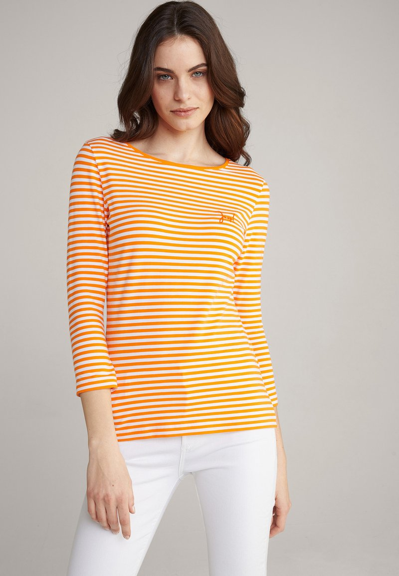 JOOP! - Long sleeved top - orange/weiß