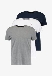 Hollister Co. - CREW CHAIN 3 PACK - Basic T-shirt - white/grey/navy - 6