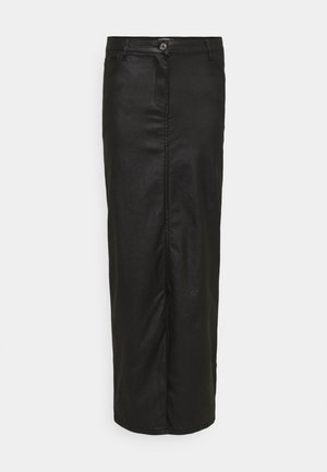COATED FRONT SPLIT SKIRT - Jupe crayon - black