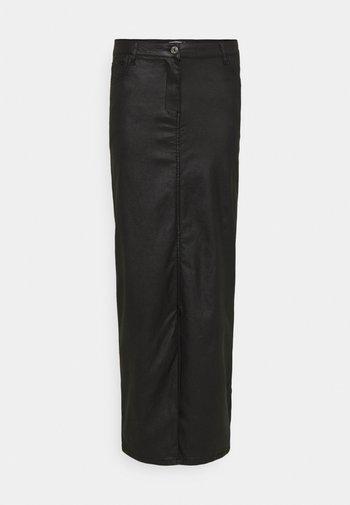 COATED FRONT SPLIT SKIRT - Pencil skirt - black