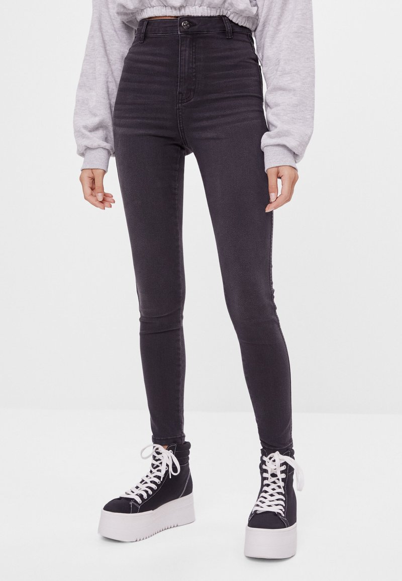 Bershka - Jeggings - dark grey