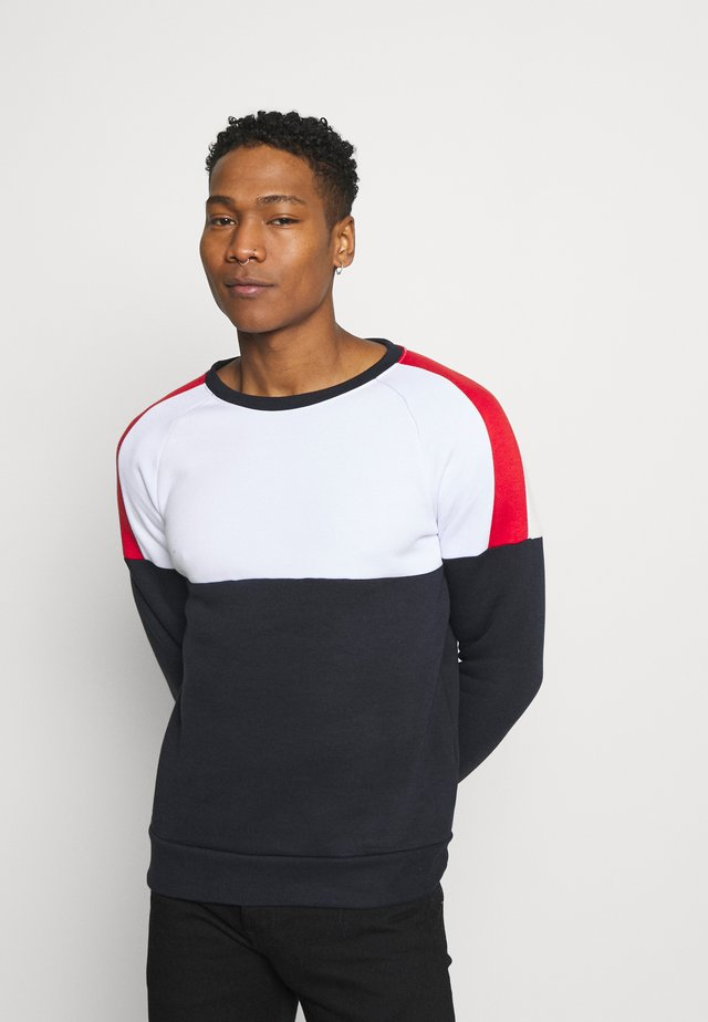 ROOSEVELT - Sweater - optic white/dark navy/red