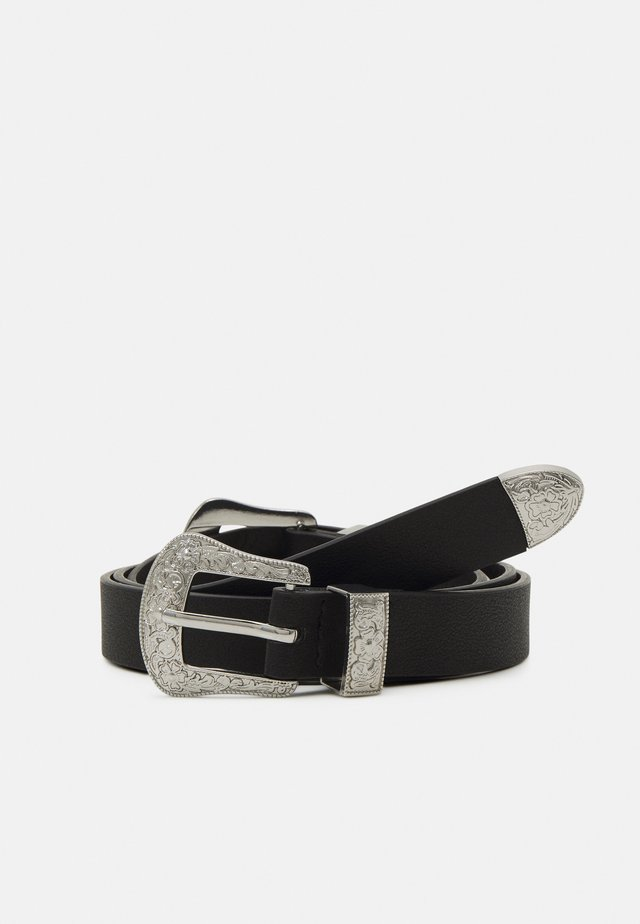 PCLARAH WAIST BELT CURVE - Cinturón - black/silver-coloured