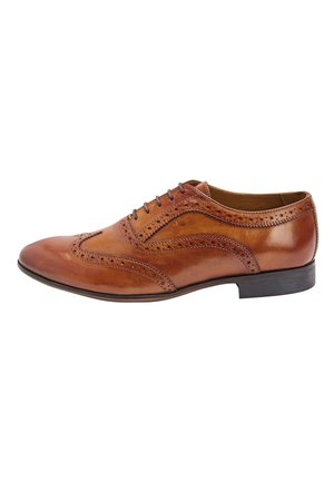 BROWN BROGUE SHOES - Smart lace-ups - mottled brown