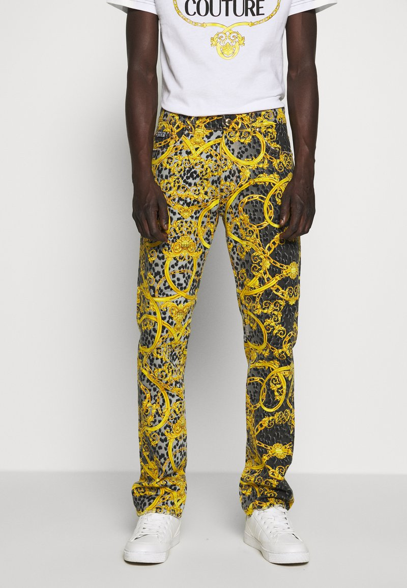 Versace Jeans Couture - MILANO ALLOVER PRINT - Slim fit jeans - black