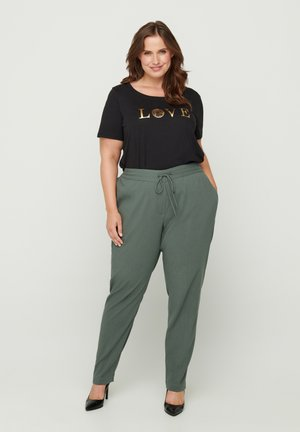 WITH TIE CORD - Trousers - green