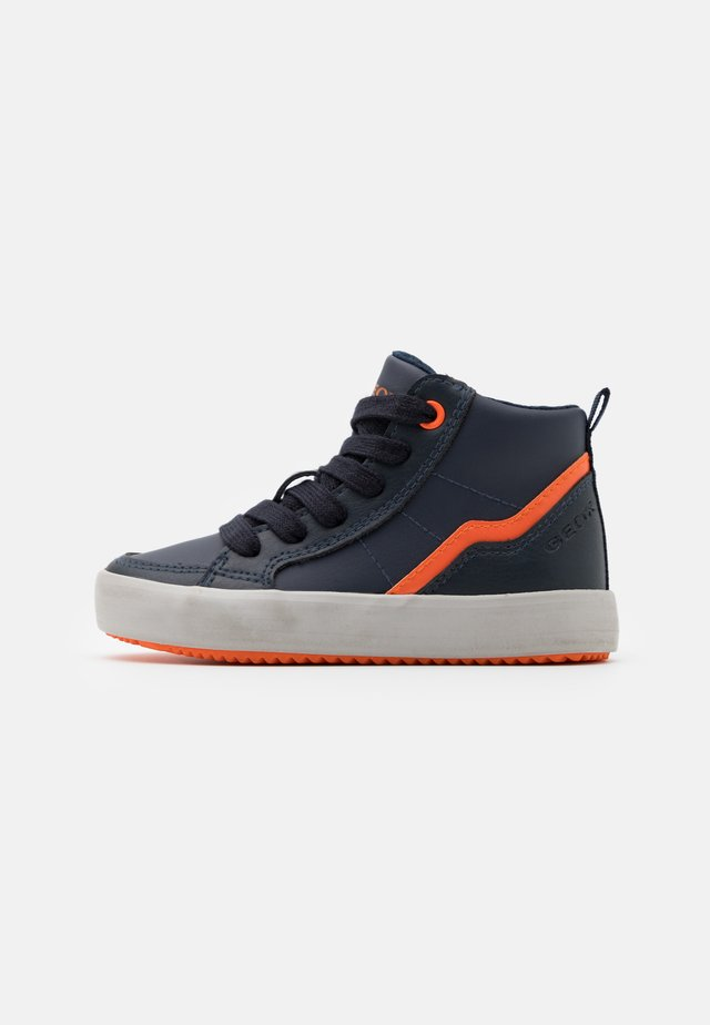 ALONISSO BOY - Sneakersy wysokie - navy/orange