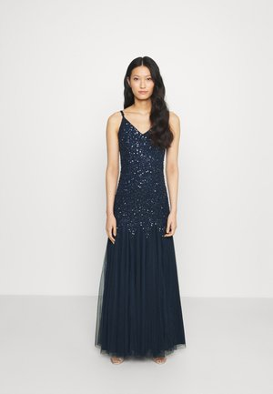 DELICATE SEQUIN FISHTAIL MAXI DRESS - Galajurk - navy