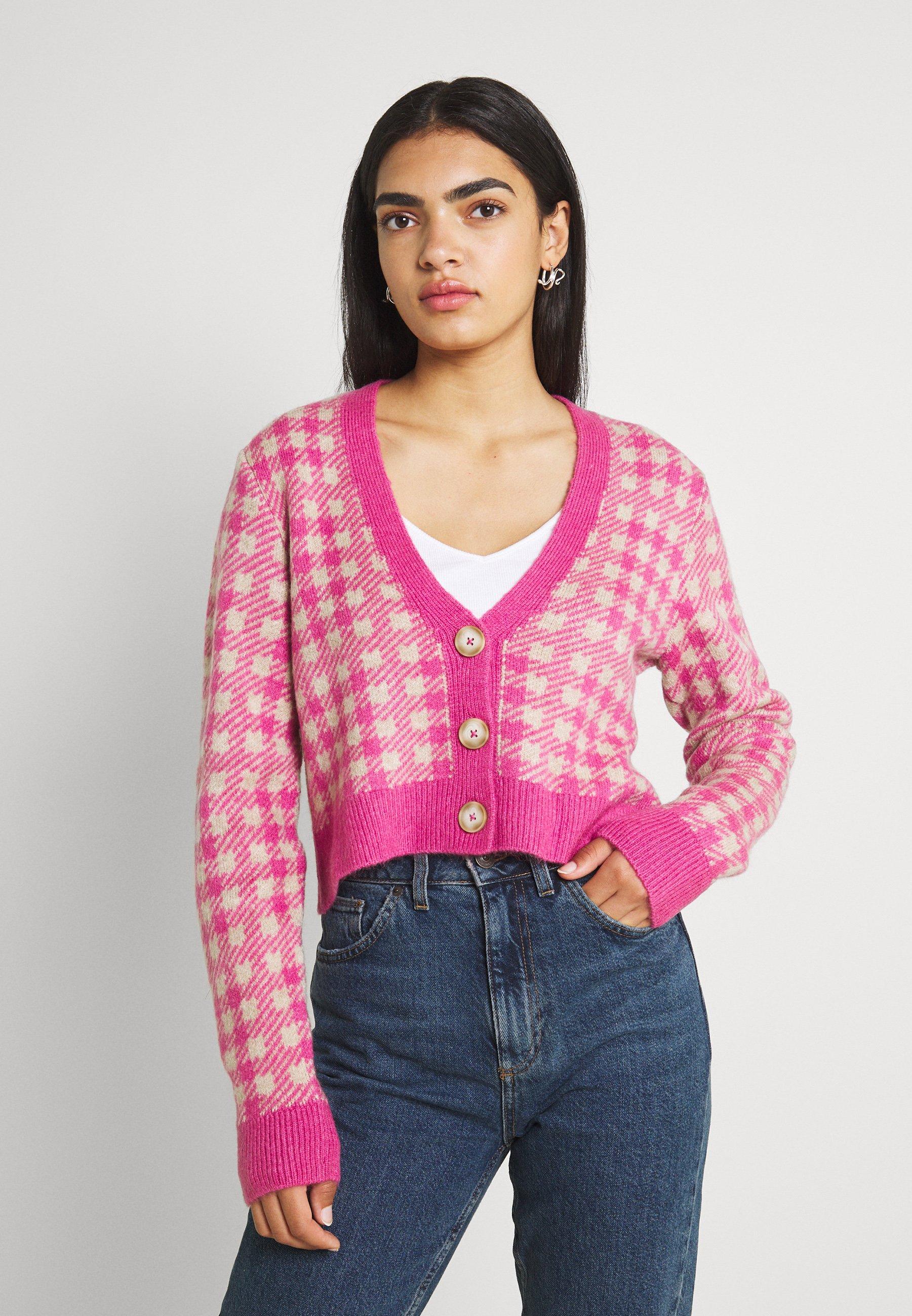 Women VICHEKINA CARDIGAN - Cardigan - natural melange/pink
