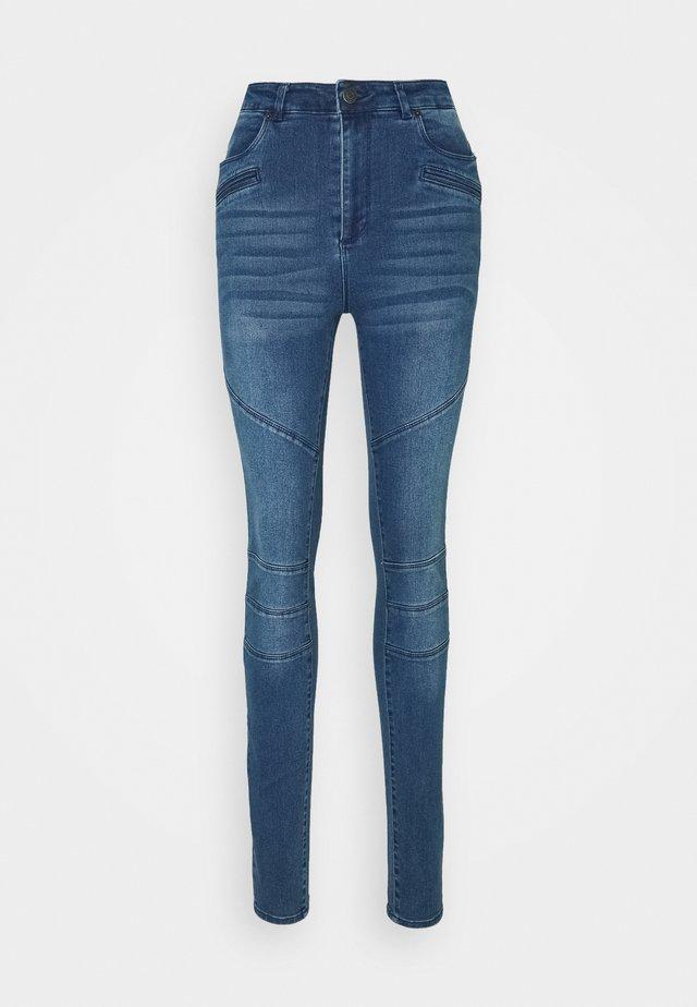 VMSOPHIA BIKER PANT - Jeansy Skinny Fit - dark blue denim