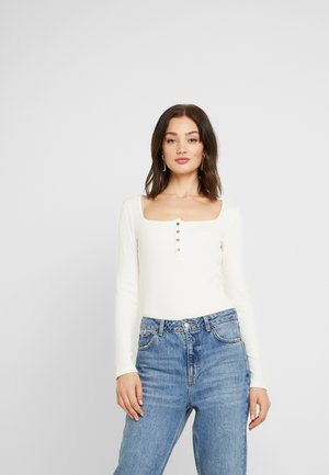 Pamela Reif x NA-KD LONG SLEEVE BUTTON DETAIL BODYSUIT - Pitkähihainen paita - off white