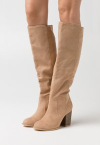 Nly by Nelly - BLOCK KNEE HIGH BOOT - Boots - beige - 0
