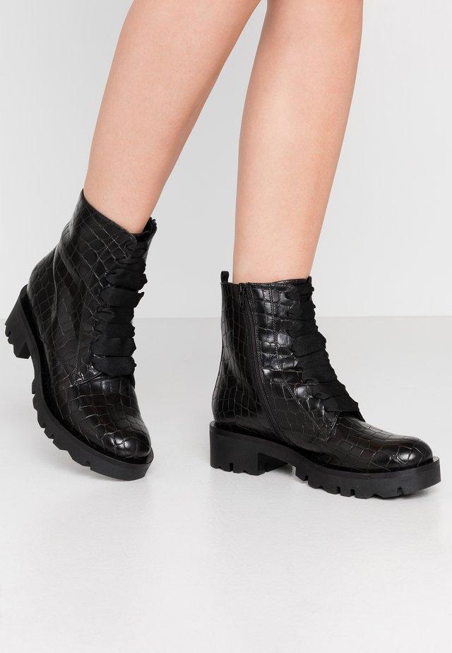 LOREN - Platform ankle boots - nero