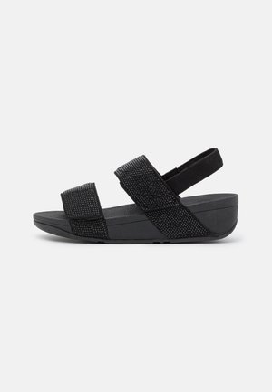 MINA CRYSTAL BACK STRAP  - Korkeakorkoiset sandaalit - all black
