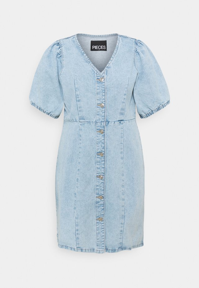 PCGILI V NECK COLOUR DRESS  - Denim dress - light blue denim