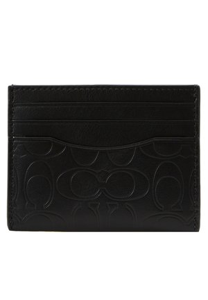 CARD CASE IN EMBOSSED SIGNATURE LEATHER - Portefeuille - black