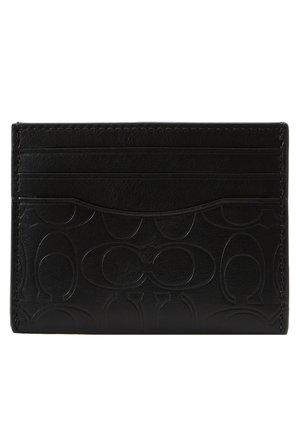 CARD CASE IN EMBOSSED SIGNATURE LEATHER - Portemonnee - black