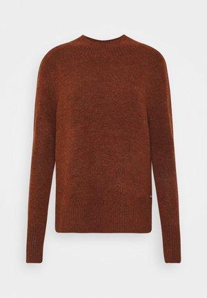 COZY MOCK NECK - Jumper - rust orange melange