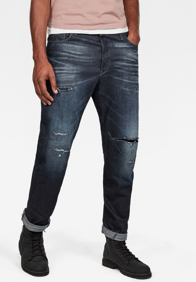 ARC 3D RELAXED TAPERED - Jean slim - worn in ripped sea green