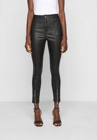 Missguided Tall - SPLIT HEM VICE WITH ZIPS - Jeans straight leg - black - 0