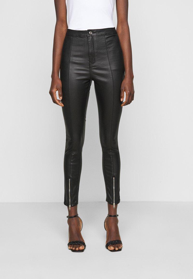 Missguided Tall - SPLIT HEM VICE WITH ZIPS - Jeans straight leg - black