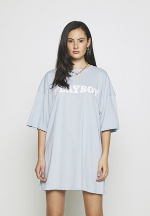 PLAYBOY BUNNY GRAPHIC OVERSIZED - Print T-shirt - dusky blue