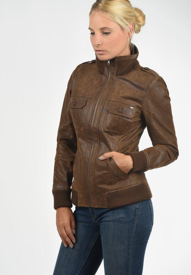 LEDERJACKE FAME - Leather jacket - cognac