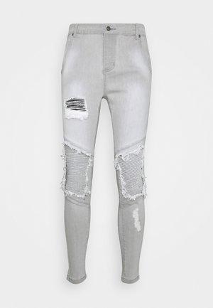 RAW HEM BIKER - Jeans slim fit - washed grey