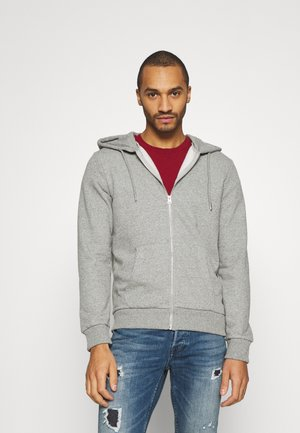JJEBASIC ZIP HOOD - Huvtröja med dragkedja - light grey / melange