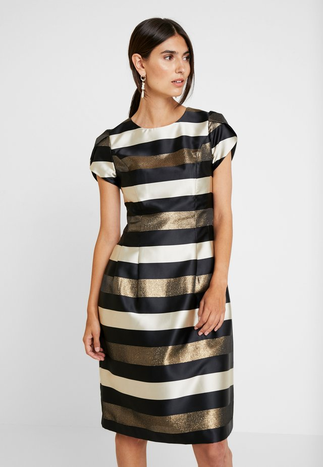 STRIPED DRESS - Cocktail dress / Party dress - black/gold/cream