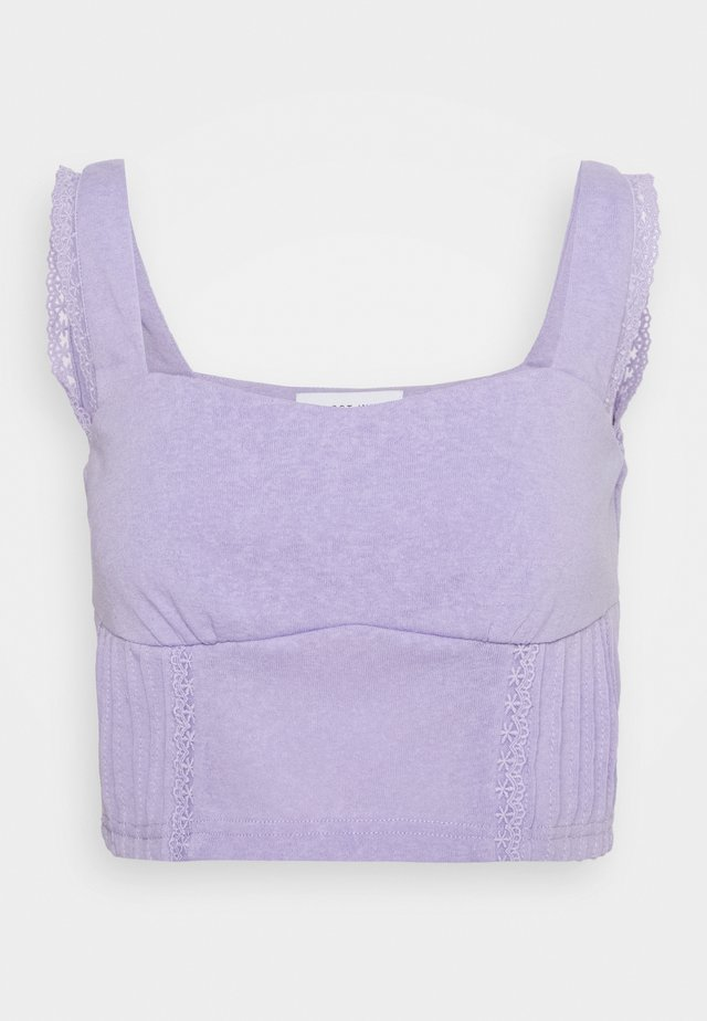 PINTUCK DETAIL CROP - Topper - purple