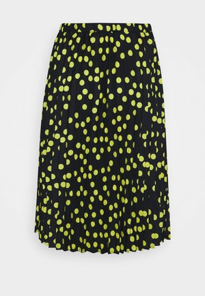 PRINT PLEATED MIDI SKIRT - Plisovaná sukně - black/lime