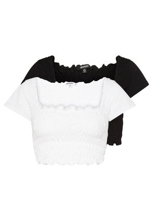 SHIRRED CROP 2 PACK - T-shirt basic - white/black