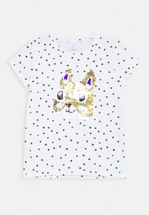 SEQUINS - Camiseta estampada - light dusty white