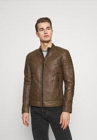 Strellson - DERRY - Leather jacket - tobacco - 0
