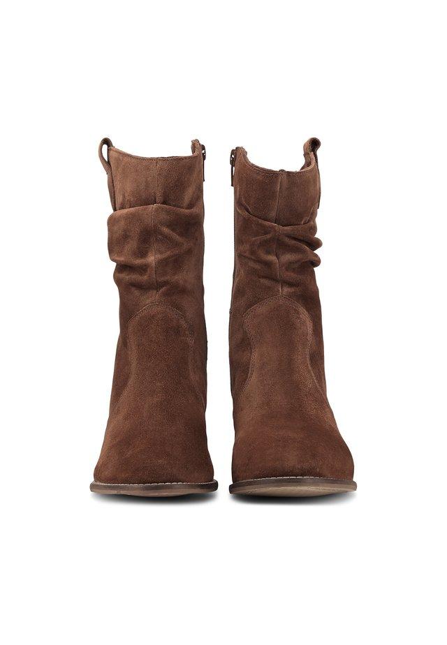 Cowboy/biker ankle boot - dunkelbraun
