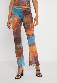 Jaded London - SLIGHT FLARED LEG BEACH TROUSER WITH XL BINDING HEATMAP PRINT - Trousers - brown/ blue/multi - 0