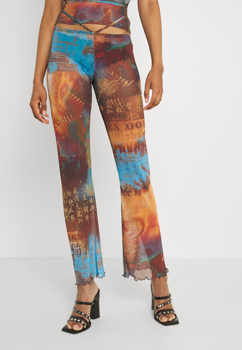 Jaded London - SLIGHT FLARED LEG BEACH TROUSER WITH XL BINDING HEATMAP PRINT - Trousers - brown/ blue/multi