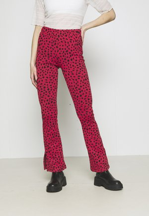 MEVY LEOPARD FLARE PANTS WOMEN - Trousers - black