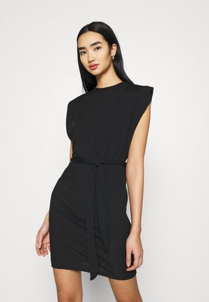 SHOULDER PAD BELTED MINI DRESS - Cocktail dress / Party dress - black