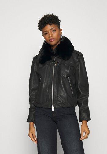 L-LIV JACKET - Leather jacket - black