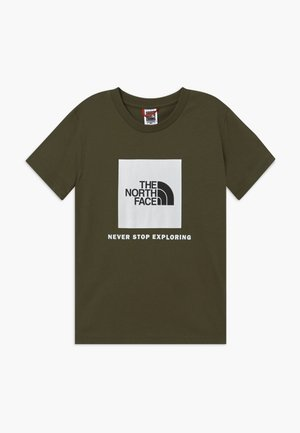 BOX TEE UNISEX - T-shirt z nadrukiem - new taupe green/white